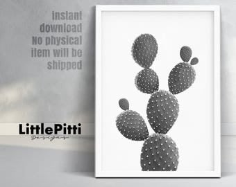 Cacti print, minimal print, black and white cactus, gray wall decor, cactus wall decor, digital download, large cactus, cactus wall art