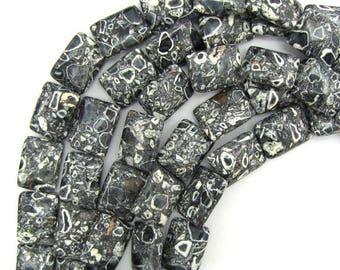 "20mm black mosaic flower turquoise rectangle beads 16"" strand 13329"