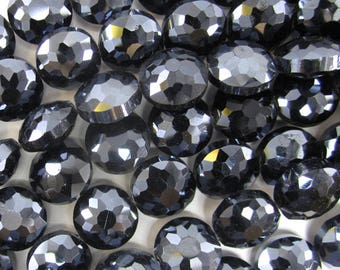 """13mm faceted crystal coin beads 8"""" strand dark blue 34315"""