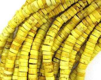 "6mm yellow turquoise heishi beads 16"" strand 17929"