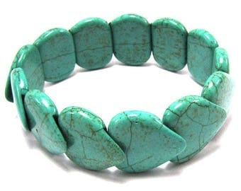 "20mm blue turquoise stretch bracelet 7"" 31779"