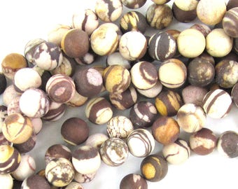 "10mm matte brown zebra jasper round beads 15"" strand 38019"