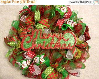 SALE Merry Christmas Wreath, Red and Green Christmas, Christmas Wreath, Christmas Wreaths, Winter wreath, x-mas wreath, x-mas