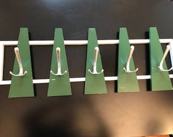 Vintage coat rack 70s design / green / retro /