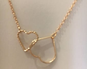 14kt gold filled heart necklace adjustable length gold necklace gift for her heart jewelry