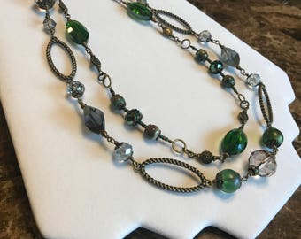 Necklace, Emerald green two strand necklace