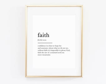 Faith definition, minimalist christian wall art