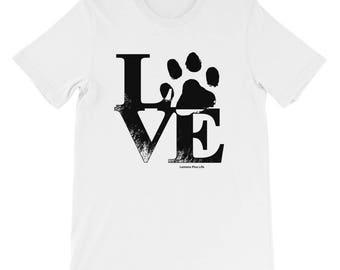 "Bella Canvas Short-Sleeve Unisex Dog Lover T-Shirt ""Love Paw"""