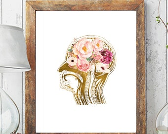 Human Brain Anatomy, Neurosurgeon Art, Brain Print, Doctors Gift Idea, Brain Poster, Anatomy  Printable Poster, Anatomical Art Prints, Brain