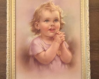 Kids 1st communion prayer frame vintage style gift idea birthday christmas