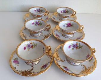 KPM Demitasse Cups and Saucers Floral Gold Set