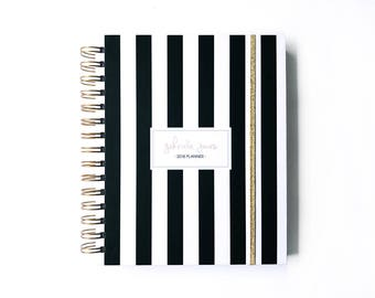 2018 personalized planner - 2018 planner - 2018 weekly planner - 2018 daily planner - black and white - 2018 agenda - weekly planner