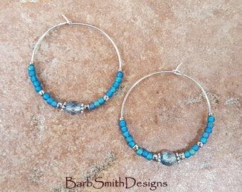 "Beaded Blue Teal Turquoise and Silver Plate Hoop Earrings, Large 1 3/8"" Diameter in Montana Teal"