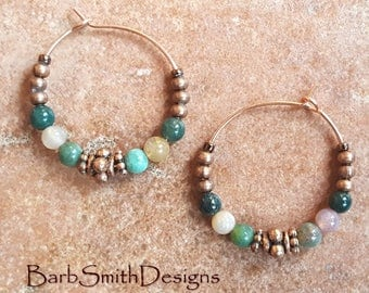"Beaded Earrings-Hoop Earrings-Turquoise Copper-Jasper Beads-Rose Gold Hoops-1"" Copper Earrings in Jasper"