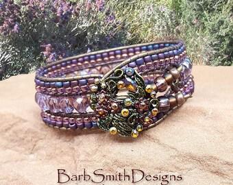 Purple Beaded Leather Bracelet-Cuff Bracelet- Amethyst Wrap Bracelet-Purple Crystal-Boho Bracelet-Custom Sizes-Indian Princess in Amethyst