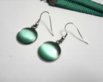Earrings turquoise cat's eye (resin) and stainless steel