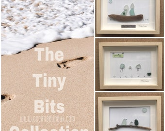 """First Baby. Original Picture Art. """"Birds"""" Genuine English Sea Glass. Handmade in the U.K. New Baby. Baby Shower. First Baby. Family."""