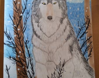 the Wolf in the mountains, drawing done in pastels