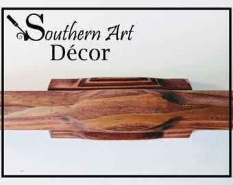 Red Walnut stain, Rustic Shelf - Bathroom Shelf decor - Rustic wood Shelf - Weathered wood Shelf, Wood wall Shelf