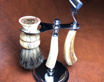 Every Knight Forge Stag & Chrome Wet Shaving Set:  Choice of Razor and Brush Knot (Made in USA)