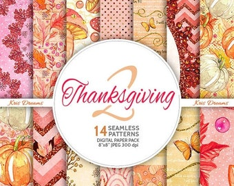 Sale 50% Off All August Thanksgiving Digital Paper, Seamless Paper, Instant Download, Thanksgiving, Pink, Glitter, Pumpkin, Autumn, Fall, Le