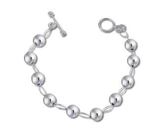 Sterling Silver Beads Bracelet, Links Bracelet, Statement Bracelet, Classic Bracelet, Heirloom Jewelry, available in 8mm 6mm.