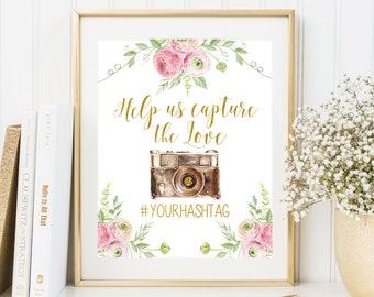 Help us capture the love sign Wedding hashtag sign Wedding Instagram sign Hashtag wedding sign Social media sign Retro camera Wedding Sign