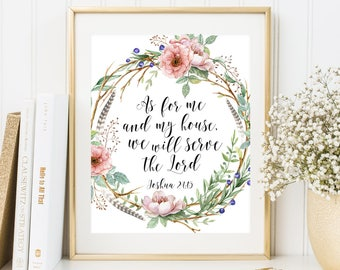 As For Me And My House We Will Serve The Lord Scripture Quote Joshua 24:15 Bible Verse Printable Christian Wall Art Boho Wreath Printable
