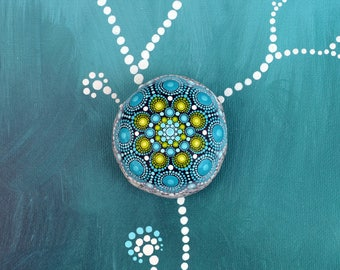 Morning dew - hand-painted stone - mandala