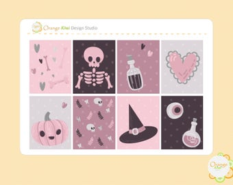 Pink Skeleton Full Box Planner Stickers, Halloween Planner Stickers, Happy Planner, Filofax, Erin Condren Life Planner