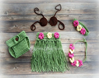 Hula girl outfit, Hula girl set, Crochet hula skirt, Hula photo prop, Baby photo prop, baby girl costume, Coconut costume, Grass skirt