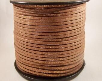 Cord effect brown suede glitter x 1 m width 2.7 mm