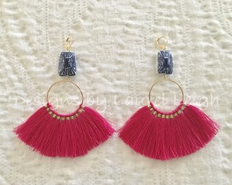 PINK Fringe Earrings | blue and white, chinoiserie, statement earrings, gold, hot pink, lightweight, big earrings