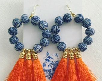 ORANGE Tassel Hoop Earrings |chinoiserie, blue and white, gold, game day, Auburn, Florida, team colors, Designs by Laurel Leigh