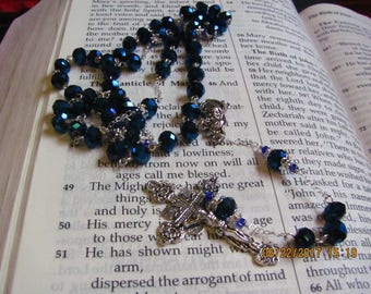 Sterling Silver and Blue AB Bead Rosary