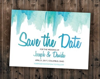 Watercolor Save the Date Printed - Wedding Save the Date, Affordable, Vintage, Teal, Blue, Watercolor, Modern, Cheap, Summer