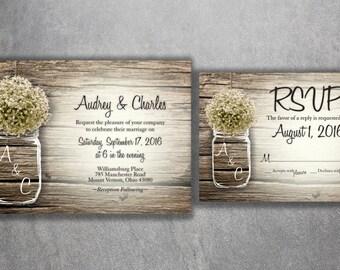Country Wedding Invitation, Rustic Wedding Invitations, Baby's Breath, Mason Jar Wedding Invitations Cards, Barn Wood, Wedding Card Cheap