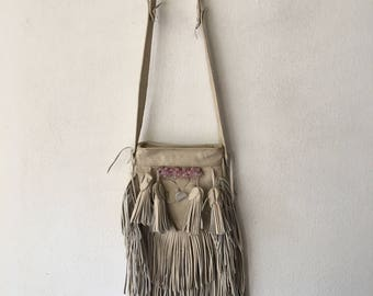 Handmade crossbody handbag, stylish bag for woman, handbag made from real leather, white color with decoration, has size - small.