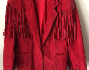 Western Style Mid Length Vintage Bright Red Genuine Suede Fringed Jacket Men's Size Large.