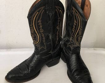 Real steep cowboy boots from real python leather genuine leather, vintage western cowboy boots old boots retro black has size-10-10 1/2.