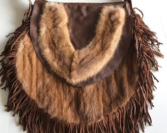 Fur bag real mink fur and recycling leather with fashionable leather fringe vintage bag designer handmade women's brown bag has size-medium.