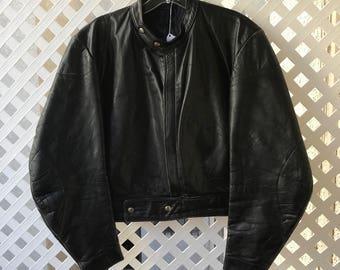Motorcycle Short Vintage Black Durable Genuine Leather Jacket  Biker Men's Size Small.