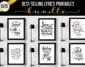Sheeran Lyrics Bestselling Printable Bundle! 6 Designs, 2 Sizes each Plus Bonus, divide album, multiply album