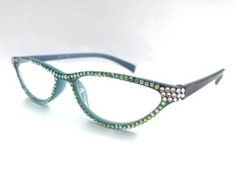 Cat-eye Reading glasses made w Swarovski Crystals  +1.50 +1.75 +2.00 +3.50