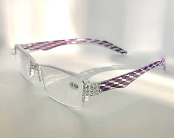 Swarovski Crystal Reading Glasses Clear Frame +4.00