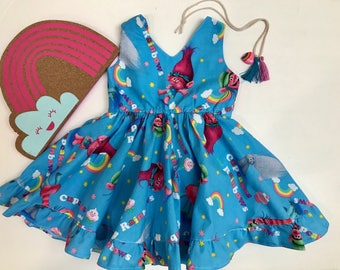 Blue Poppy Dress, Cupcakes Rainbow Trolls Dress, Trolls Dress, Trolls Birthday outfit, Branch and Poppy Trolls, Toddler Trolls Dress,