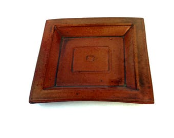 Handmade Square Plate, Small Pottery Plate, Ceramic Sandwich Plate, Red