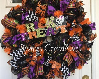 Halloween wreath, fall wreath, front door wreath, deco mesh wreath, trick o treat wreath