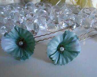 Set of 2 blue beaded flowers wedding hair pins