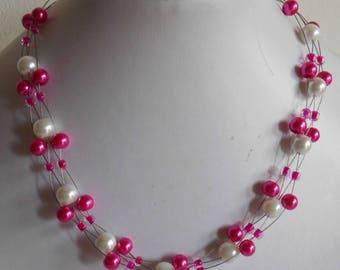 Necklace Girly twisted wedding fuchsia and white